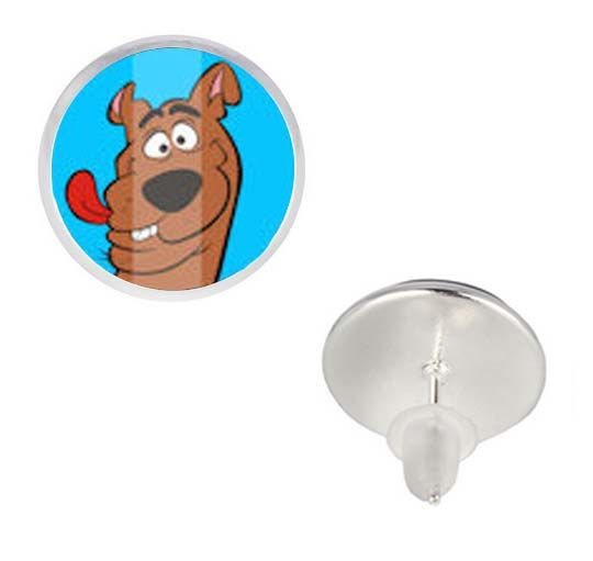 Clever Scooby Doo Photo Gl Cabochon Stud Earrings For Baby Cartoon Animal Dog Sliver