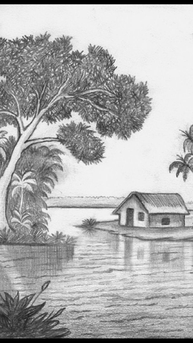 Pin By Runa Laila On Drawings Landscape Pencil Drawings Pencil Art Drawings Landscape Drawings