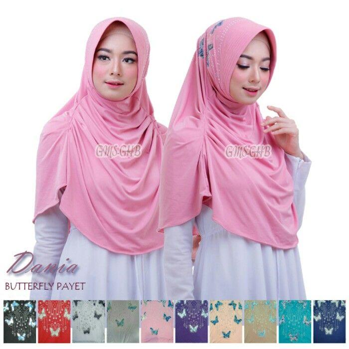 Jilbab Instan Hijab Instan Dania Butterfly Payet Jilbab Bergo Pad Antem Anti Tembem Dengan Variasi Kerut Samping Dan Fashion Hijab Fashion Stylish Hijab