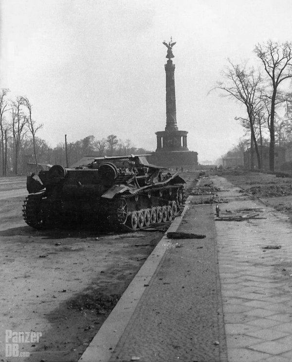 This knocked-out Munitionsschlepper is made of Panzer IV Ausf. C chassis. Berlin, Siegessäule in bg, June '45.