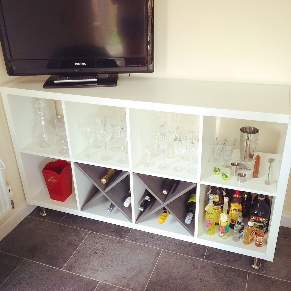 Home bar made from IKEA Kallax, legs added on. Perfect for pantry ...