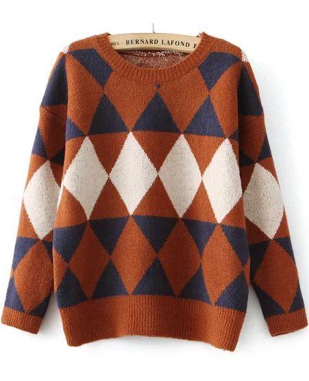 Diamond Patterned Loose Khaki Sweater  22c582a31