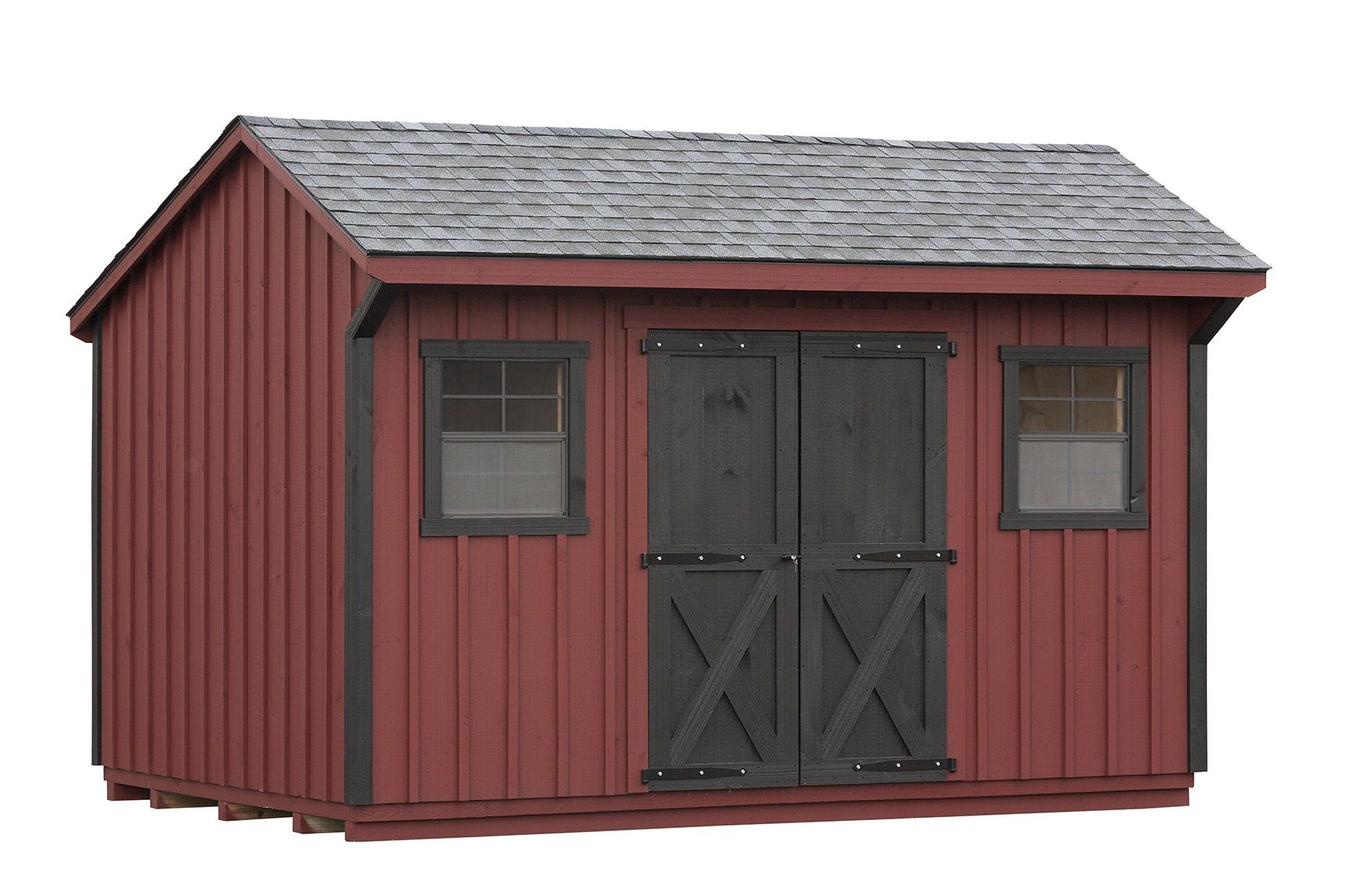 This 10x14 Manor Shed In Pewter Gray Shingle Has Red Paint With Solid Black Doors And Black Corner Trim Shed Plans Wood Shed Plans Shed Storage