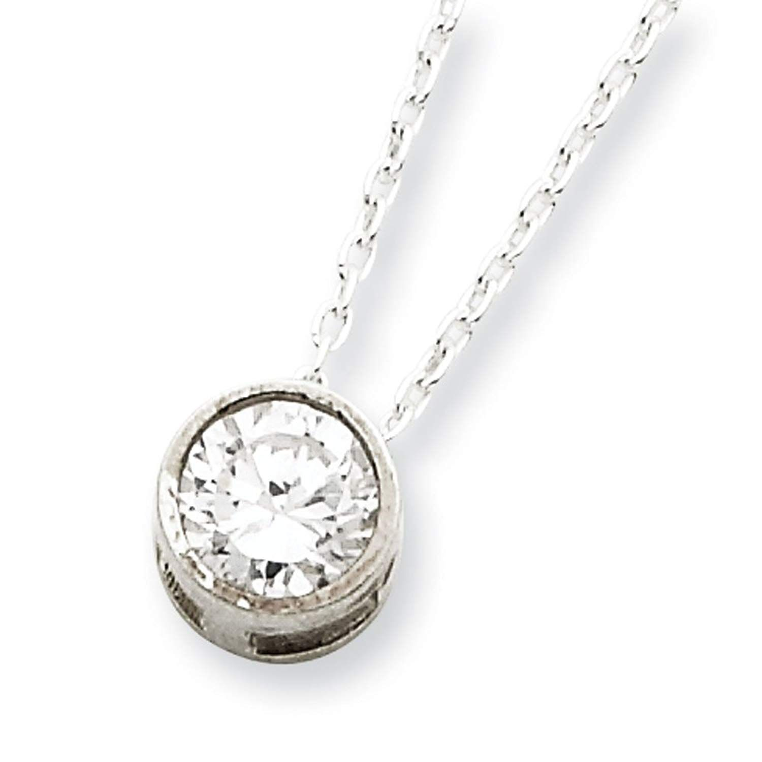 West Coast Jewelry Sterling Silver Cubic Zirconia Pendant On 16 Chain Necklace 16 Inch Sincerely H Chains Necklace Pendant Jewelry Cubic Zirconia Pendant