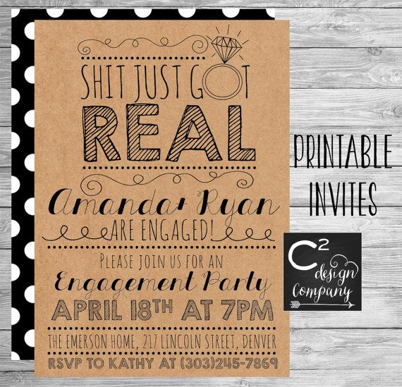Sht Just Got Real Engagement Party Invite – Engagement Party Invitations Etsy