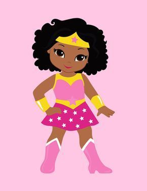 pink clipart with superhero