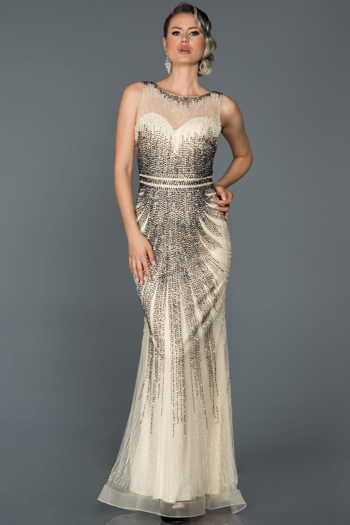 Bej Tas Islemeli Ozel Tasarim Abiye Abu118 2020 Elbise Elbise Modelleri The Dress