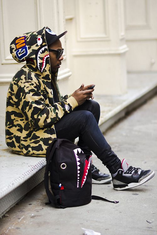 3911ce561430 J Ape Bathing Ape hoodie Air Cement Cement 3 Denim. Really digging the  Black Cement 3s...I wonder where I can find the shark backpack