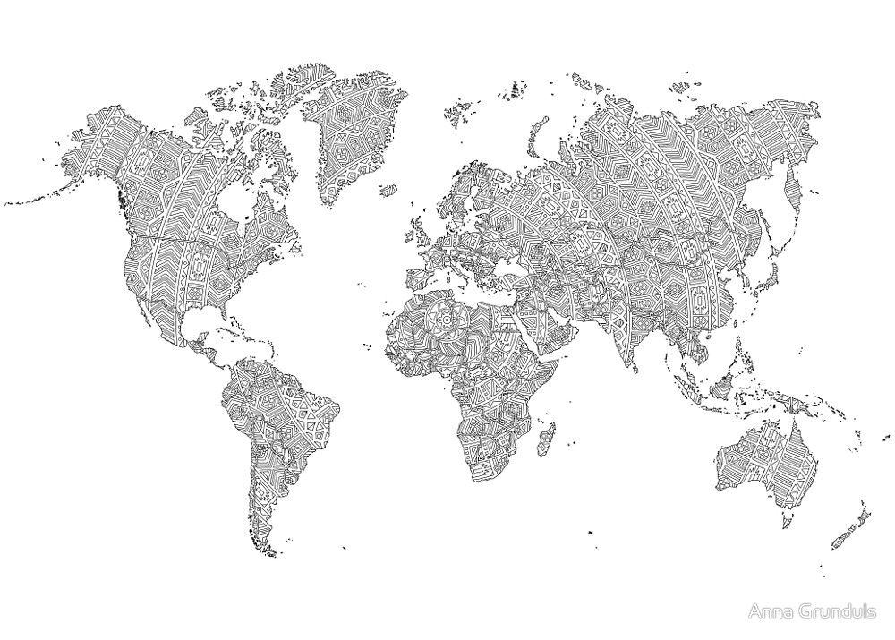 World map mandala tribal patterns illustration by anna grunduls world map mandala tribal patterns illustration by anna grunduls gumiabroncs Images