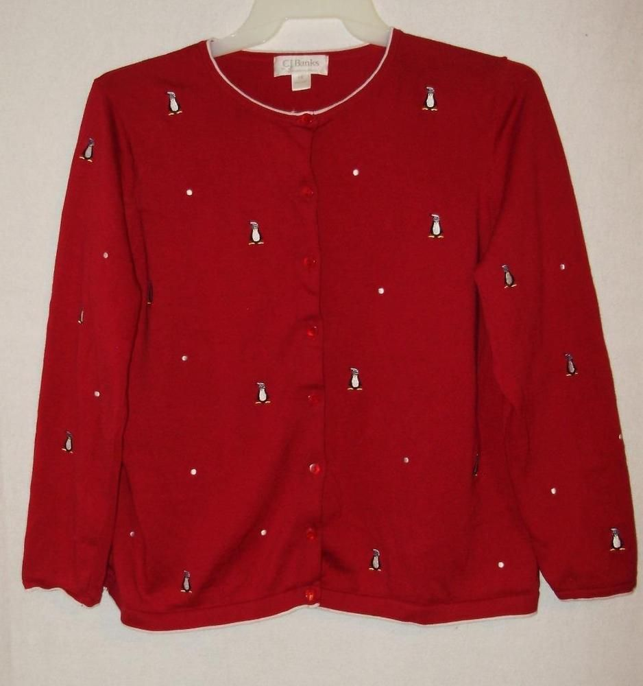 CJ Banks Red penguins cardigan sweater-1X-Plus size red cotton ...
