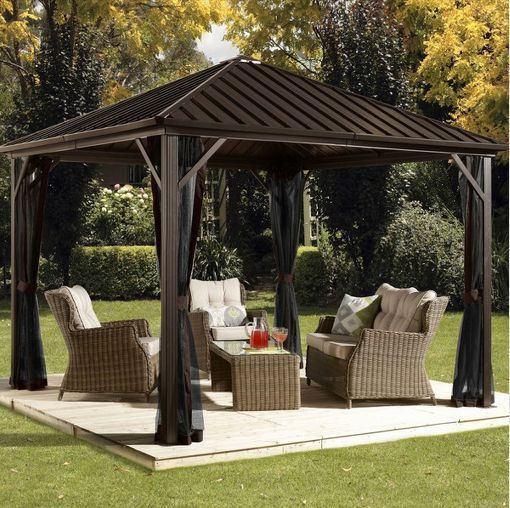 Metal Roof Gazebo 10 X 12 With Netting Outdoor Garden Patio Grill Canopy  Deck #Sojag
