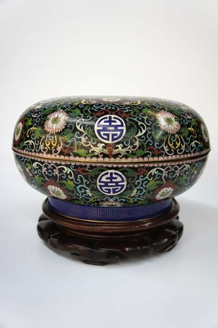 Vintage Antique Cloisonne Vase Chinese Brass Bowl With Cover Atop A Carved Rosewood Base