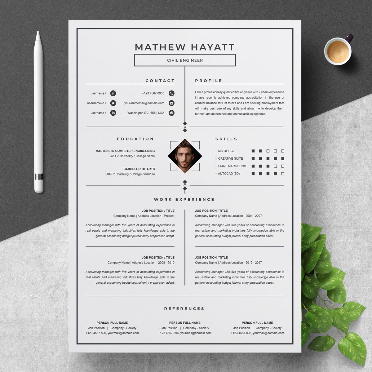 Mathew Resume Template 75556 One page resume template