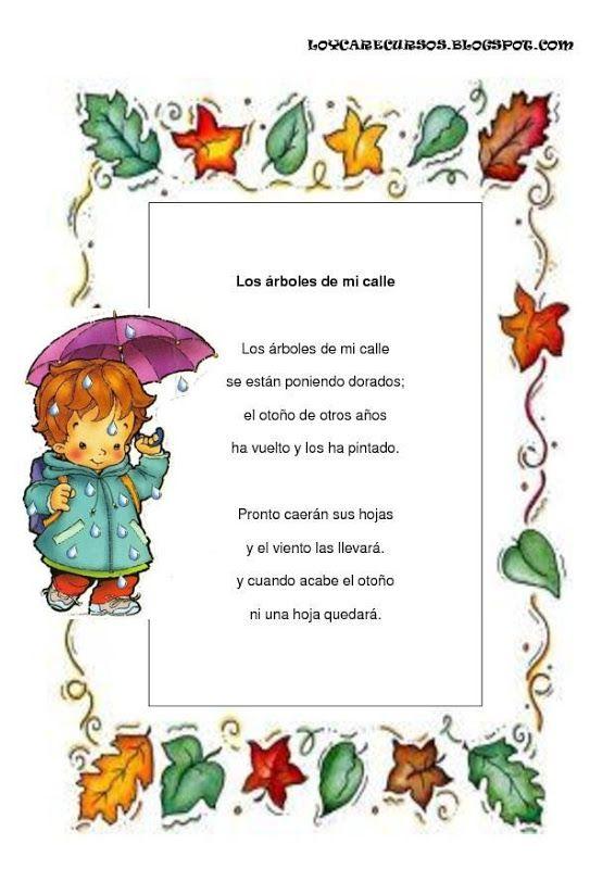 Poesias De Otono 2 Jpg 566 800 Rimas Infantiles Poemas Cortos Para Ninos Poemas De Otono