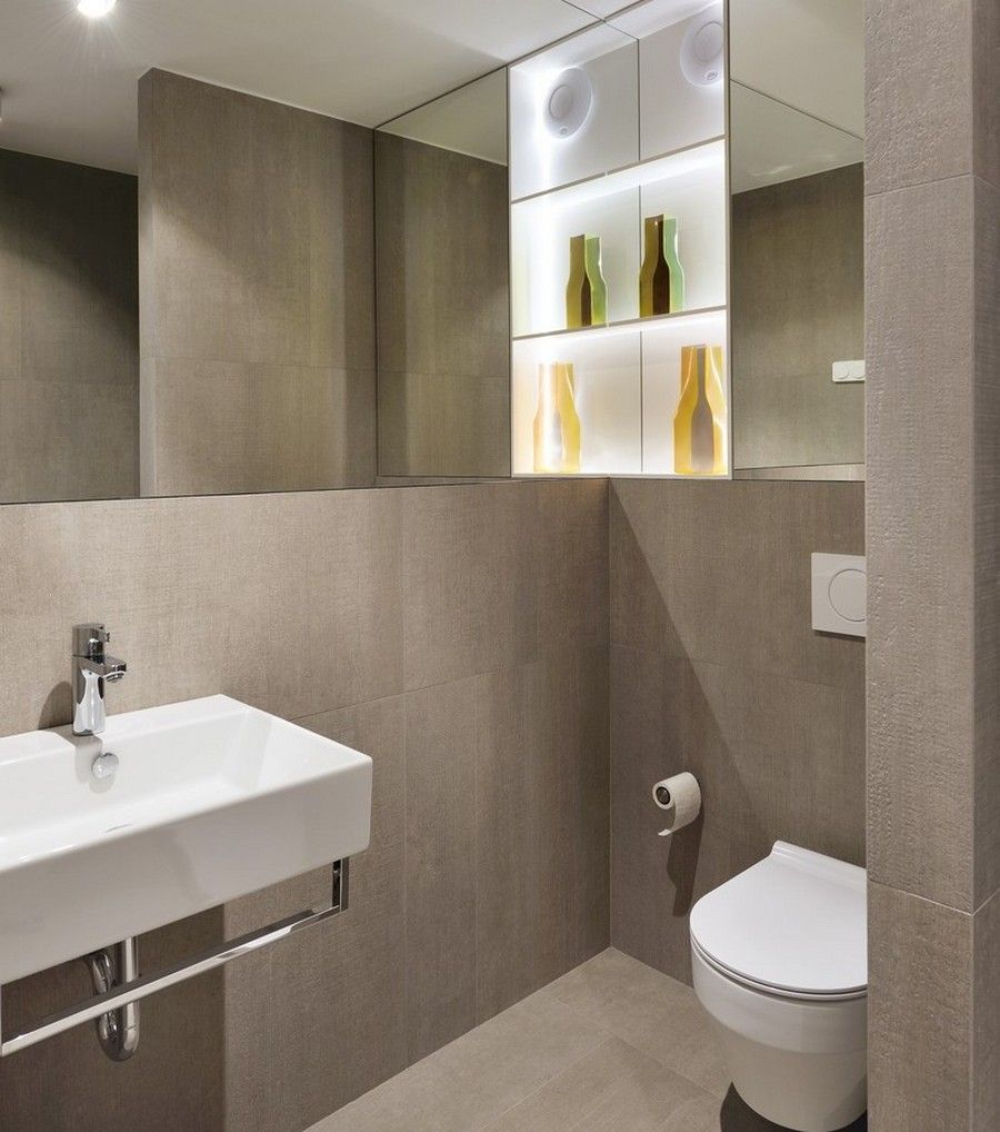 Modern Apartment Bathrooms Design Ideas With White Vanity Sink: Modern Bathroom Contains Grey Concrete Like Tiles Floors Siding And White Porcelain Sink Toilet