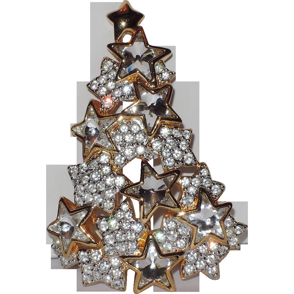 Rarest Swarsovski 1996 Limited Edition Star Crystal Christmas Tree Pin Book Piece Crystal Christmas Tree Jewelry Christmas Tree Christmas Jewelry