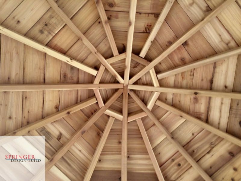 Exposed Rafters With Tongue And Groove Cedar Planks For Octagon Gazebo Gazebo Vaulted Ceiling Lighting Deck Builders