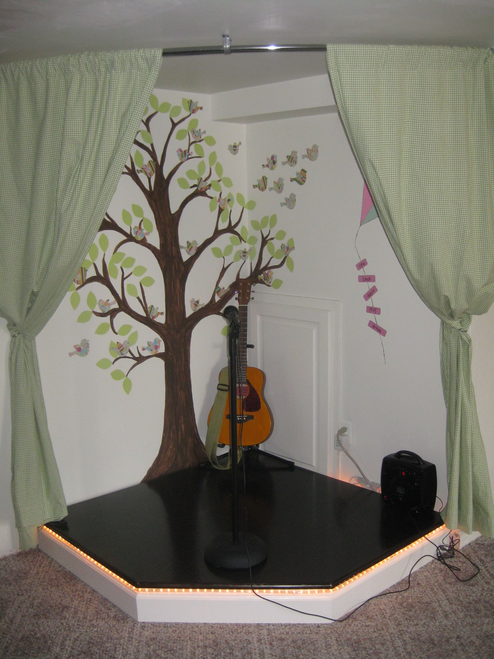 i built this kid s stage for my three girls for christmas Large Basement Playroom Ideas Basement Bedroom Ideas