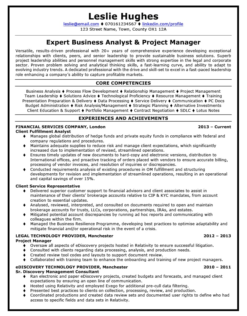 Legal CV Writing Example Success Story TopCV Manager