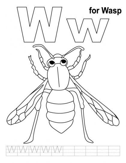 W For Wasp Coloring Page With Handwriting Practice Download Free
