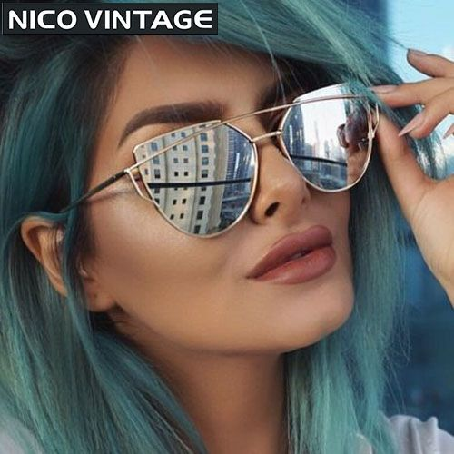 f42396bfcb 2016 Rose Gold Cateye Sunglasses Women Ladies Cool Design Twin Beams Flat  Lens Sun Glasses Female UV400 Protection Shades-in Sunglasses from Women s  ...