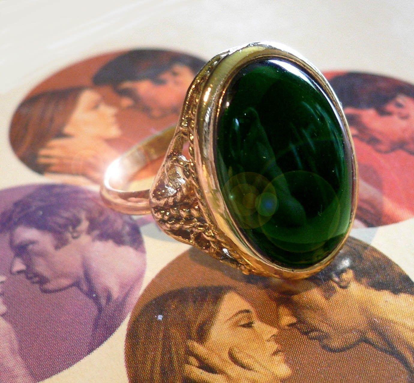 60s Vintage GOTHIC RING Adjustable Deep Emerald Glass. $6.50, via Etsy.