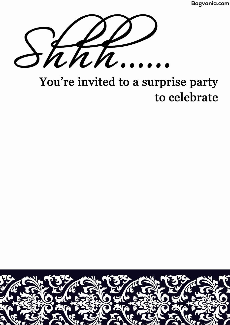 Elegant surprise birthday party invitation template