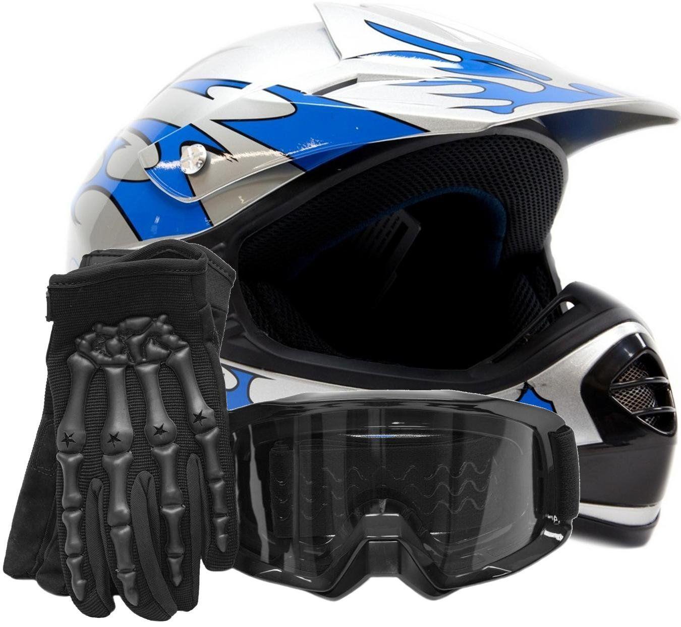 Youth Kids Offroad Gear Combo Helmet Gloves Goggles Dot Motocross Atv Dirt Bike Motorcycle Blue Black Large Helmet Offroad Motocross