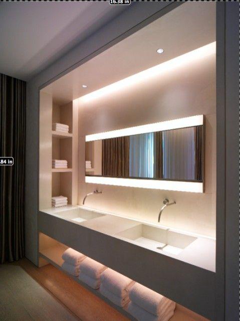 Badezimmer Waschtisch Mit Regal Und Spots Salle De Bain Design Idee Salle De Bain Salle De Bains Moderne