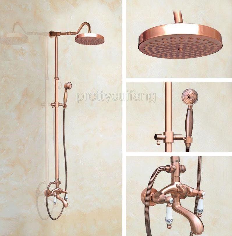 Antique Red Copper Bathroom Rainfall Shower Faucet Set Bathtub Mixer ...