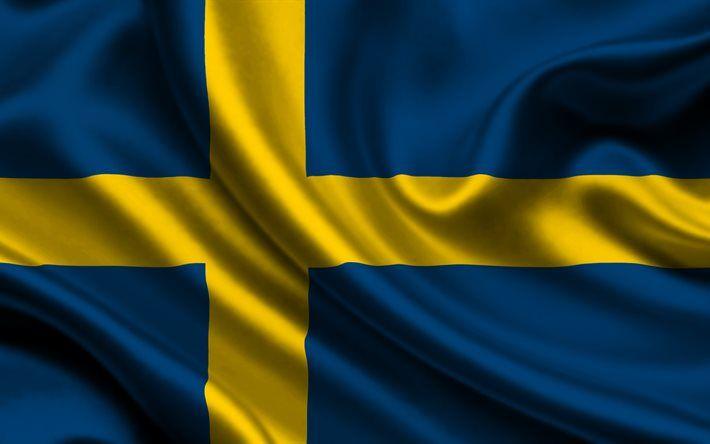 Download Wallpapers Sweden Swedish Flag Silk Flag Flag Of Sweden Besthqwallpapers Com Sweden Flag Sweden Flag
