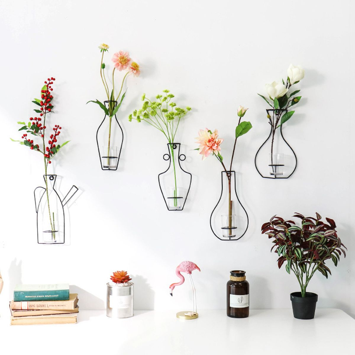Nordic Metal Vase Glass Hydroponic Plant Container Ornaments Home Decor Accessories Hanging Terrarium Decor Wall Vase Terrarium Decor