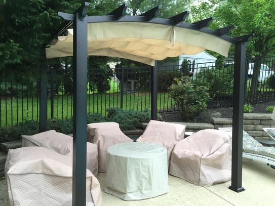 Hampton Bay  ft. ft. Steel and Aluminum Arched Pergola with