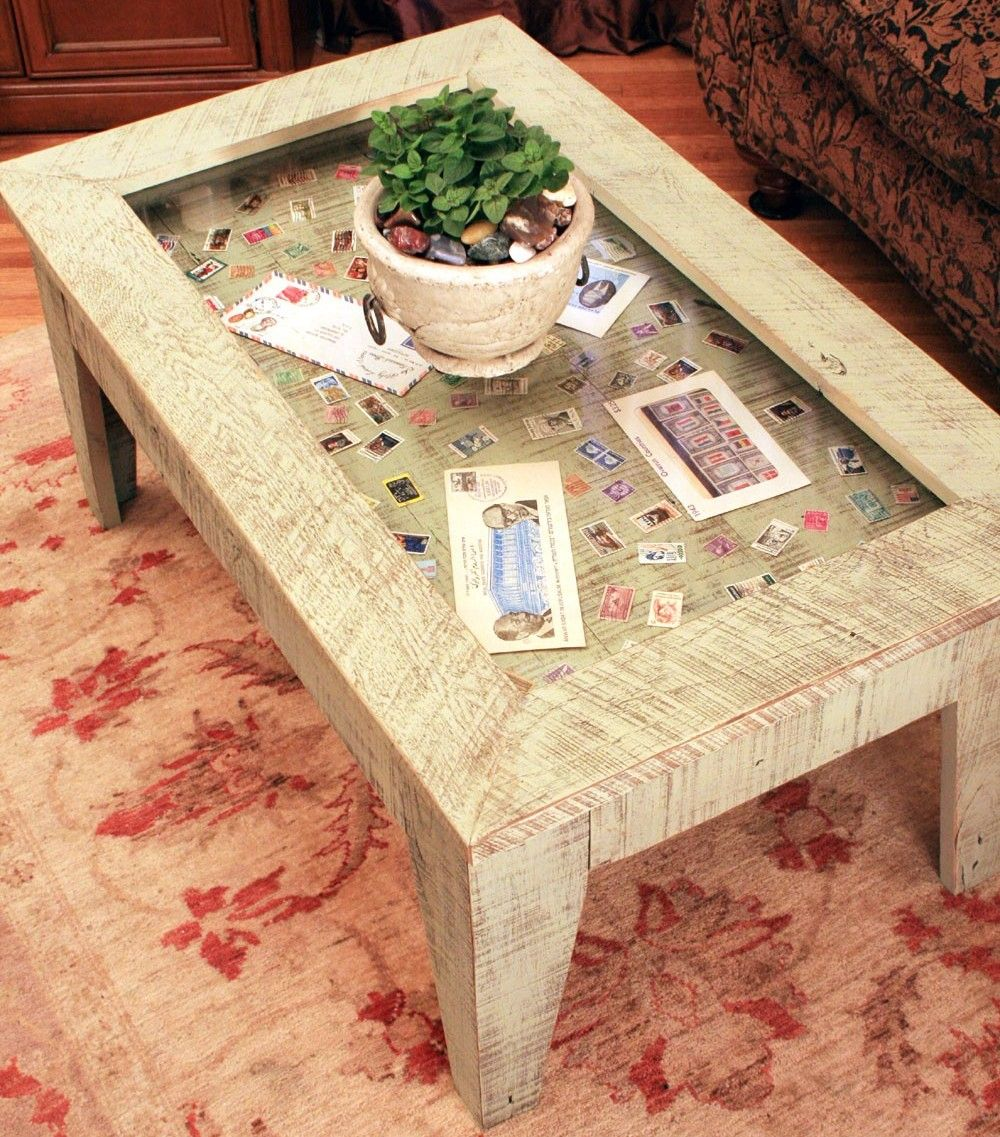 Map Coffee Table Ethan Allen: Post Glass Display Coffee Table