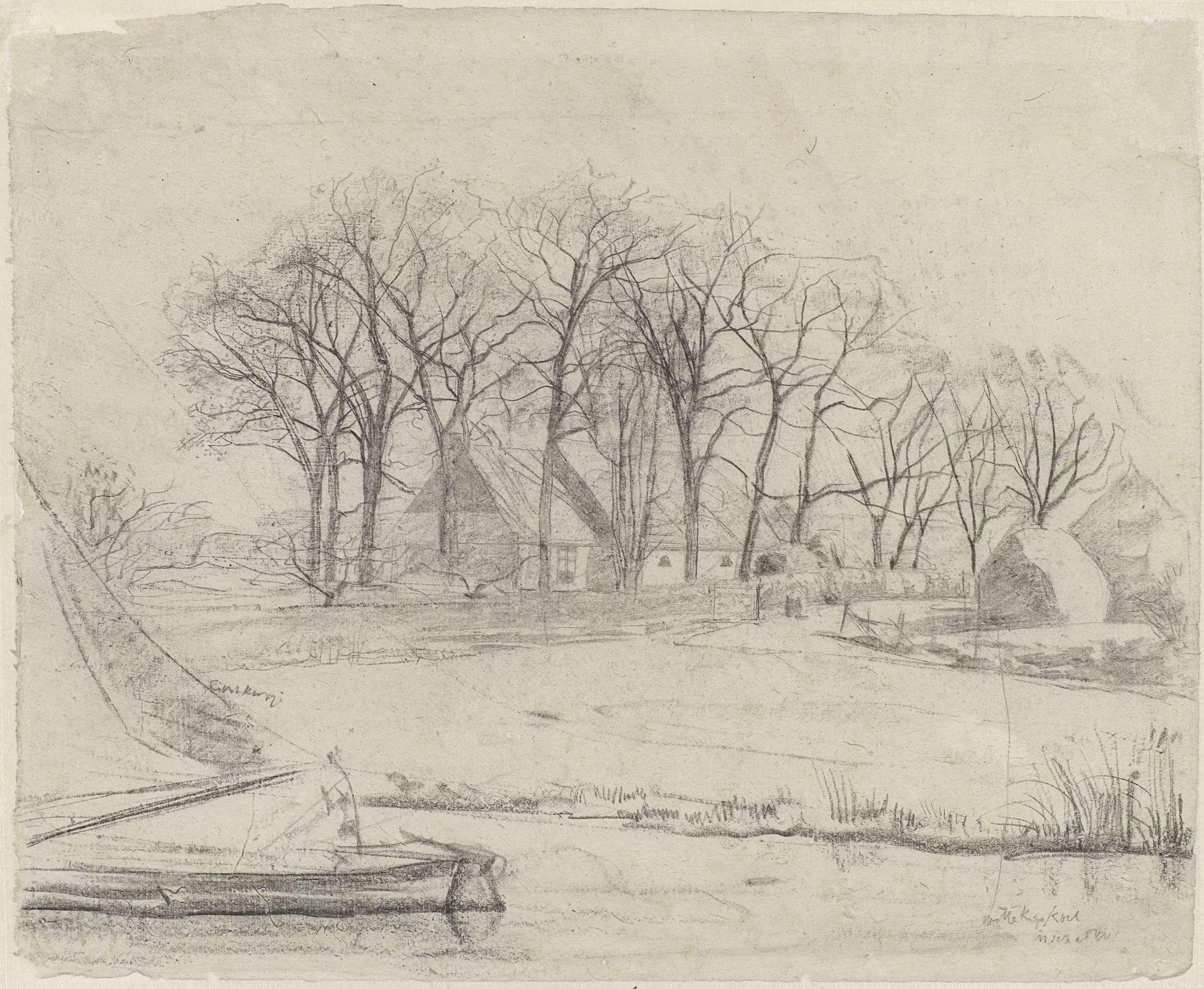 Gerrit Willem Dijsselhof | Boerderij tussen bomen, bij een vaart, Gerrit Willem Dijsselhof, 1876 - 1924 |