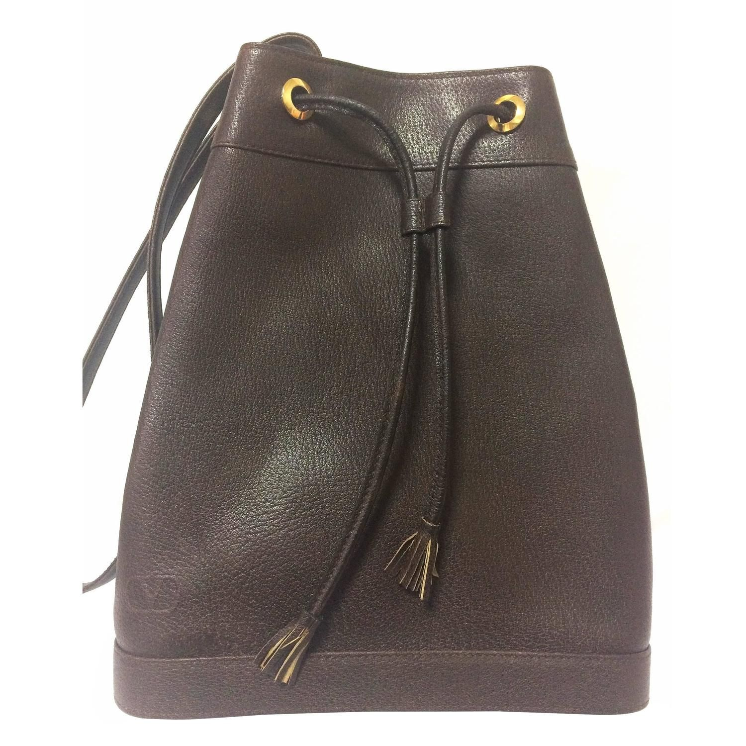 Vintage Valentino Garavani Dark Brown Leather Hobo Bucket Shoulder Bag Brown Leather Hobo Vintage Valentino Designer Shoulder Bags