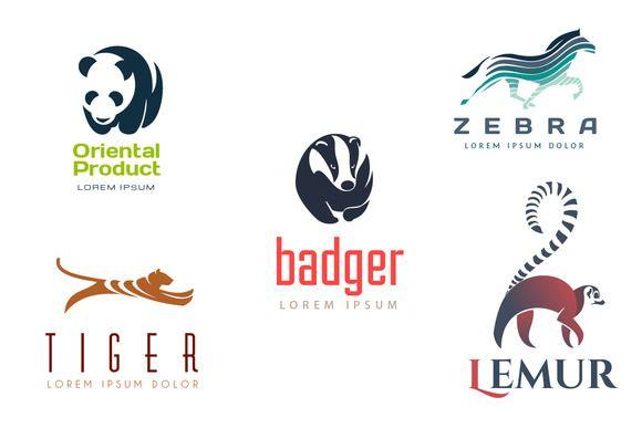Animal Logos #Set #logo #Template #animals #design #zebra #tiger #lemur