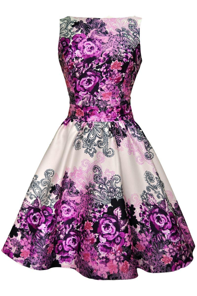 Tea Dress - Purple Rose Floral Collage | Hijos, Vestiditos y Ropa