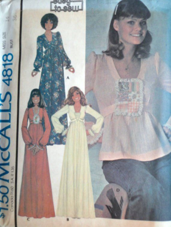 e46884c4a3394 Vintage 70 s McCall s 4818 Sewing Pattern Misses Maxi Dress Or Top Size 14  36 Uncut FF Bust Retro Boho 1970 s Fashion Easy To Sew