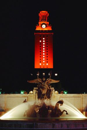 The UT Tower lit up orange for every victory has the number 1 for & The UT Tower lit up orange for every victory has the number 1 for ...