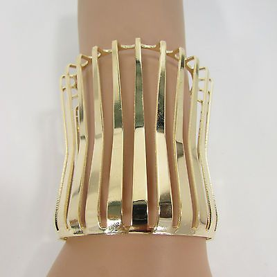 "Gold Wide Metal Cuff Bracelet Unique Cut Shape 3"" Long New Women Fashion Jewelry Accessories"
