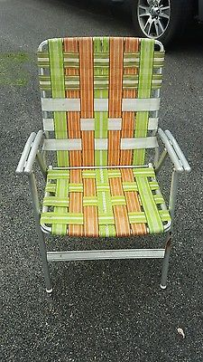 Vintage Retro Lawn Deck Camping Chair Web Aluminum Folding Webbed Patio  Camp Chairs, Decks,
