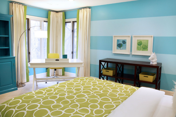 Blue, green, yellow, with espresso wood Striped walls