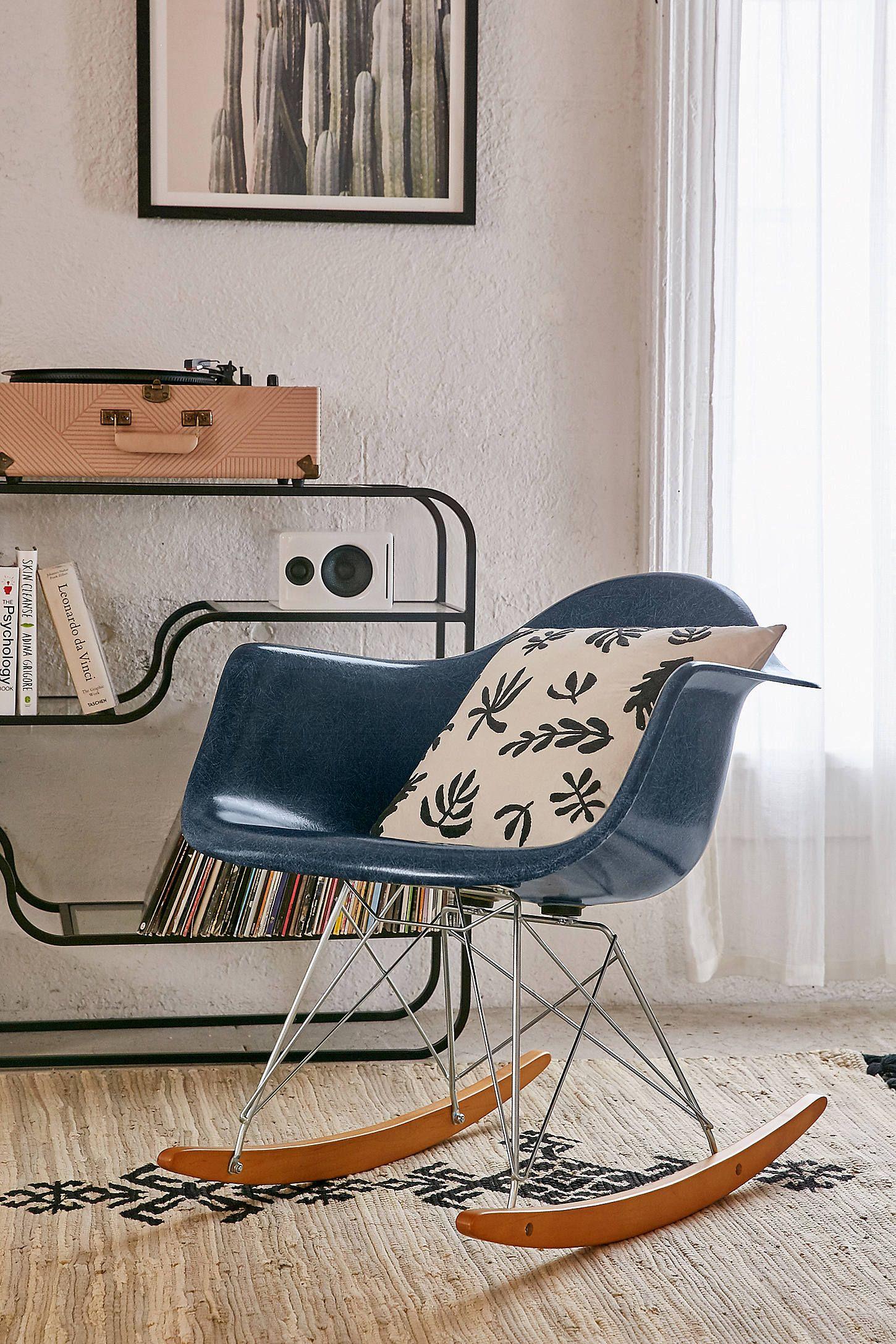 Modernica Fiberglass Arm Shell Rocking Chair Rocking Chair Chair Blue Chairs Living Room
