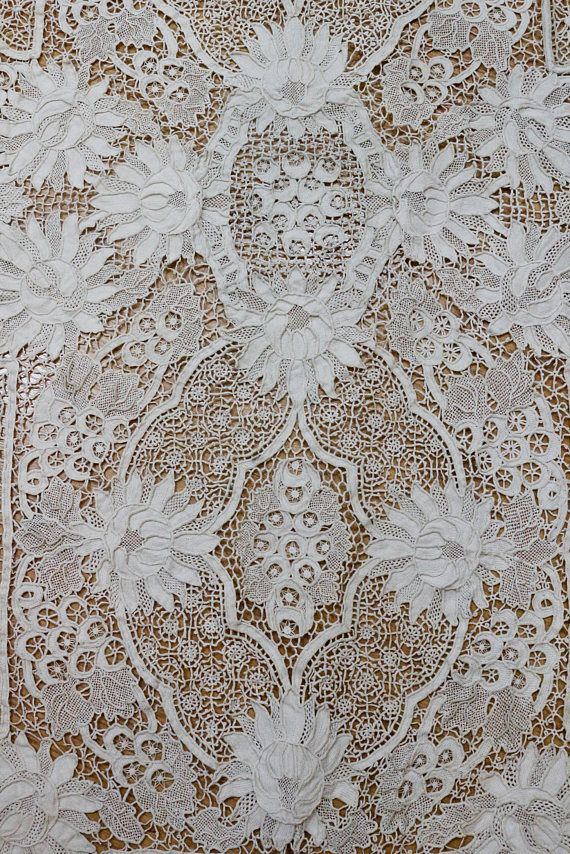 Antique Needle Lace Tablecloth Italian Point De Venise Lace