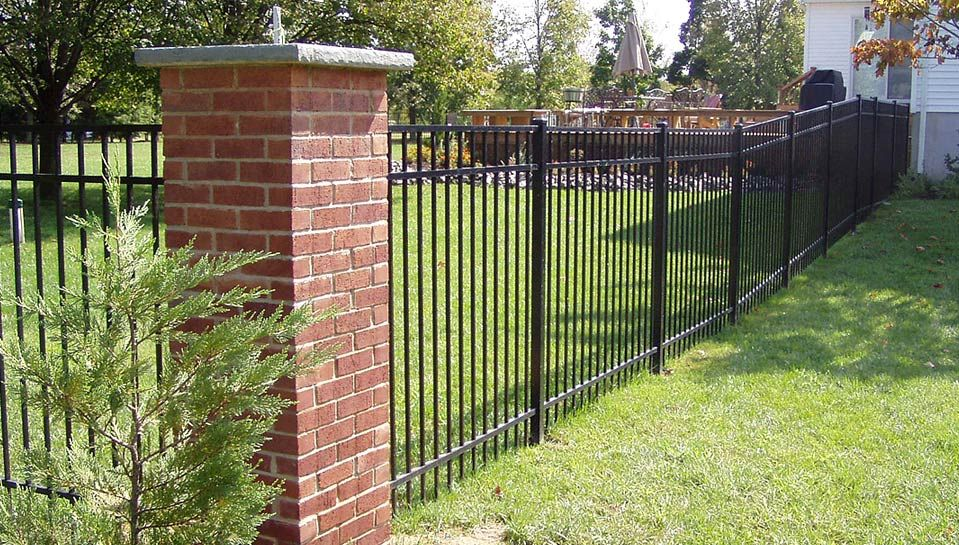 Wrought Iron Fence With Brick Columns Brick Columns Iron Fence Backyard Fences
