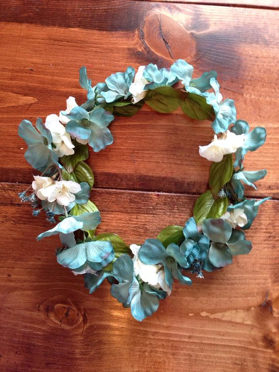 Blue and Ivory Floral Headpiece READY TO SHIP by kelloryjeannette