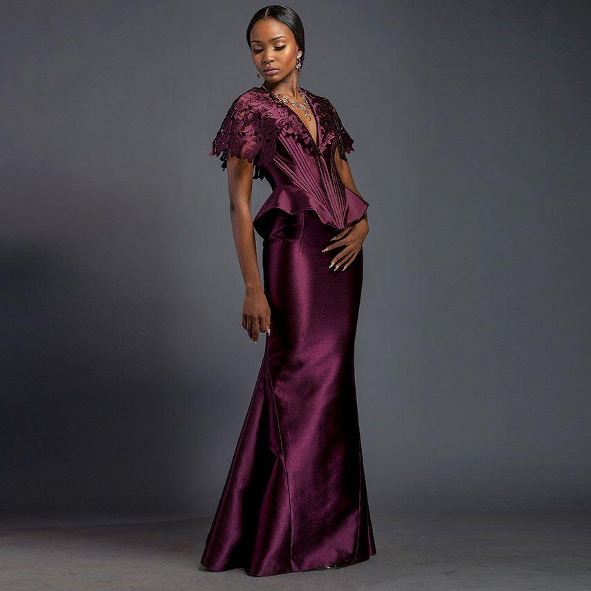 Nigerianischen Meerjungfrau Lange Abendkleider Dark Purple Spitze ...
