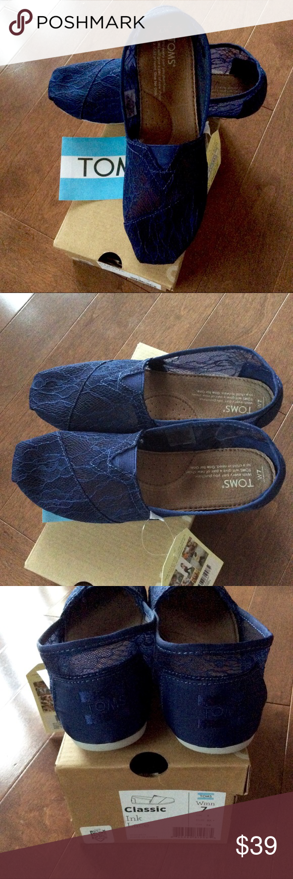 a69d757a192 BNIB TOMS – INK LACE ROPE WOMEN'S ESPADRILLES Brand new in box &  authentic!