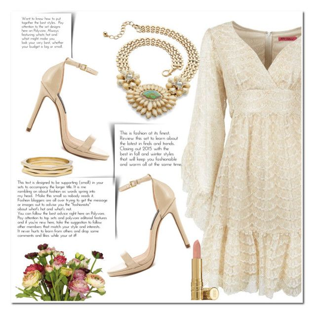 """""""Golden Bohemian Dress"""" by christinacastro830 ❤ liked on Polyvore featuring Betsey Johnson, Palm Beach Jewelry, Chico's, OKA, Steven by Steve Madden, Elizabeth Arden, women's clothing, women's fashion, women and female"""
